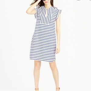 J. Crew Blue and White Striped Tuxedo Shift Dress